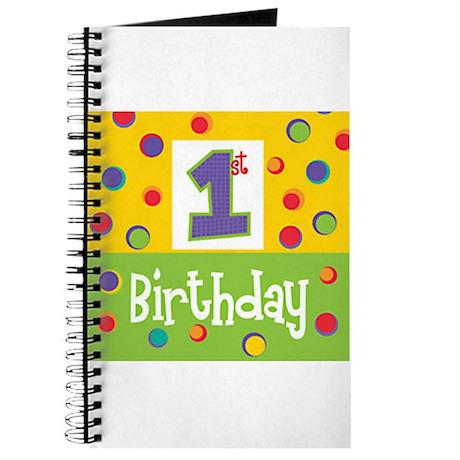 1st Birthday Colorful Polka Dot Fun Journal