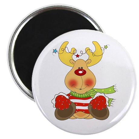 """Cute Holiday Reindeer 2.25"""" Magnet (10 pack)"""