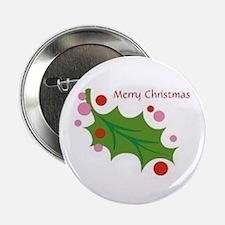 "Festive Christmas Leaf 2.25"" Button"