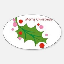 Festive Christmas Leaf Oval Decal