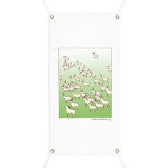 Reindeer Herd Green Banner