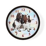 Basset hounds Wall Clocks