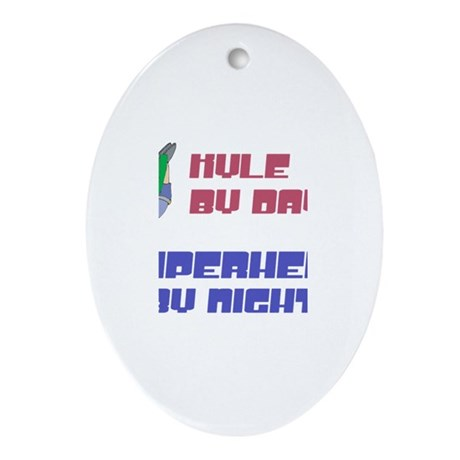 Kyle - Super Hero by Night Oval Ornament