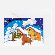 Log Cabin Sheltie Greeting Card