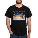 XmasSunrise/2 Cavaliers (t) Dark T-Shirt