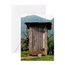 Mountain Outhouse Greeting Card