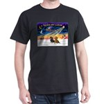 XmasSunrise/2 Dachshunds Dark T-Shirt