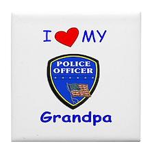 I Love My Police Grandpa Tile Coaster
