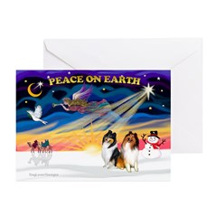 XmasSunrise/2 Collies Greeting Cards (Pk of 10)