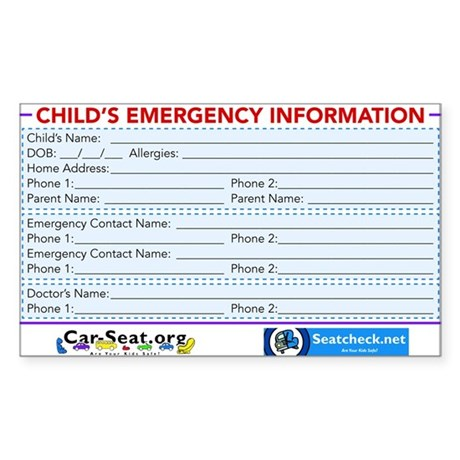 Car-Seat.Org Emergency Information Sticker