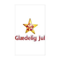 Glædelig Jul Star Rectangle Decal