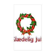 Glædelig Jul Wreath Rectangle Decal