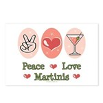 Peace Love Martini Postcards (Package of 8)