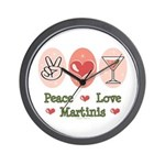 Peace Love Martini Wall Clock