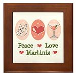 Peace Love Martini Framed Tile