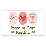 Peace Love Martini Rectangle Sticker