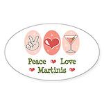 Peace Love Martini Oval Sticker (10 pk)