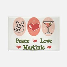 Peace Love Martini Rectangle Magnet