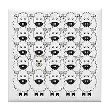 Samoyed and Sheep Tile Coaster