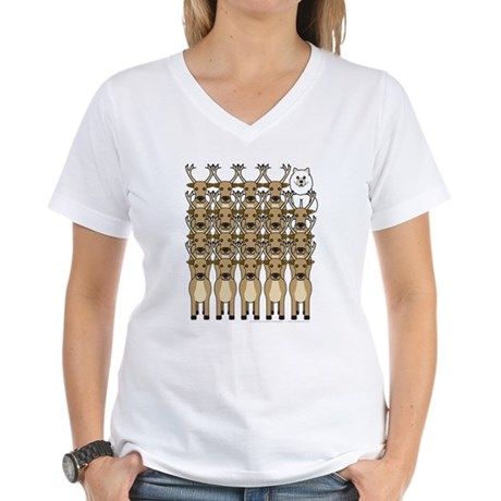 Samoyed and Reindeer Women's V-Neck T-Shirt