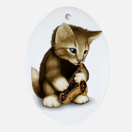 Cute Saxophone Oval Ornament