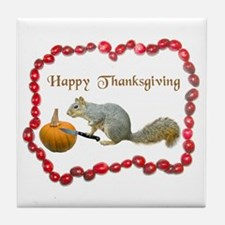 Squirrel Thanksgiving Tile Coaster