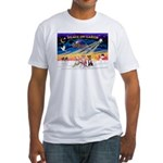 XmasSunrise/3 Whippets Fitted T-Shirt