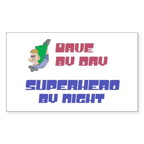 Dave - Super Hero by Night Rectangle Sticker