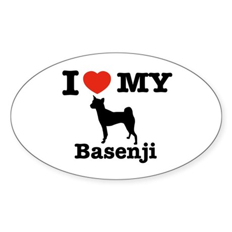 I love my Basenji Oval Sticker (10 pk)