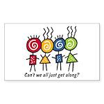 Let's Get Along Rectangle Sticker
