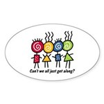 Let's Get Along Oval Sticker