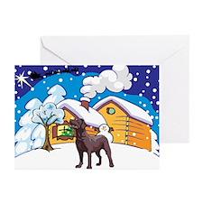 Log Cabin Chocolate Lab Greeting Cards (Pk of 20)