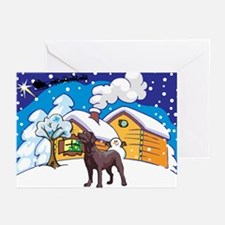 Log Cabin Chocolate Lab Greeting Cards (Pk of 20)