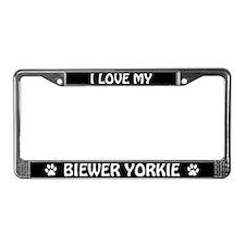 I Love My Biewer Yorkie License Plate Frame