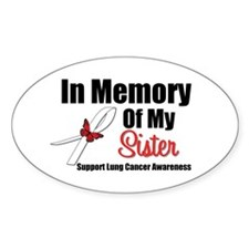 InMemorySister Lung Cancer Oval Sticker (10 pk)