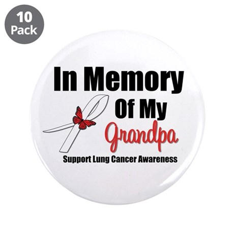 """InMemoryGrandpa Lung Cancer 3.5"""" Button (10 pack)"""