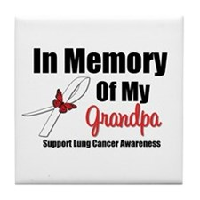 InMemoryGrandpa Lung Cancer Tile Coaster