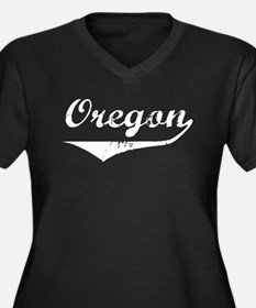 Oregon Women's Plus Size V-Neck Dark T-Shirt