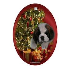 Christmas St. Bernard Puppy Oval Ornament
