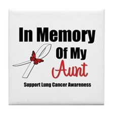 In Memory Aunt Lung Cancer Tile Coaster