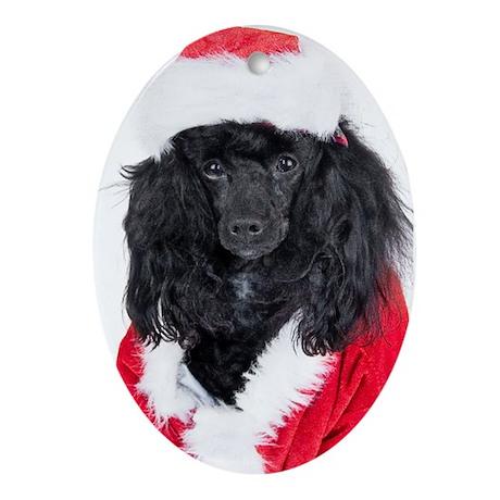 Poodle Oval Christmas Ornament