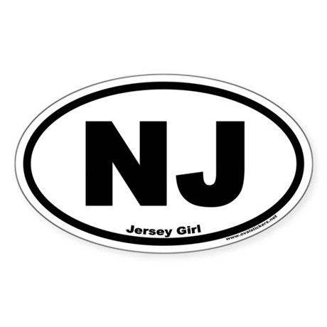 Jersey Girl NJ Euro Oval Sticker