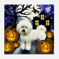 BICHON FRISE DOG HALLOWEEN Tile Coaster
