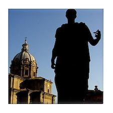 Caesar Flipping Off the Church Tile Coaster