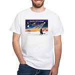 XmasSunrise/Flat Coat Retriev White T-Shirt