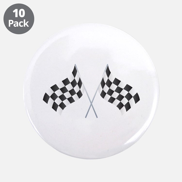 """Checkered Flag 3.5"""" Button (10 pack)"""