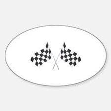 Checkered Flag Oval Decal