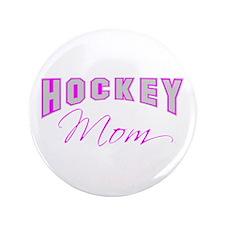 "Hockey Mom (pink) 3.5"" Button"