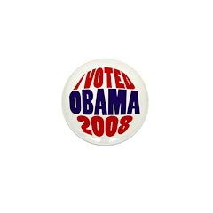 """I Voted Obama 2008 Mini 1"""" Button"""