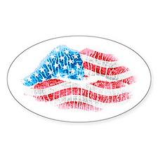 Patriotic Smooch Oval Decal